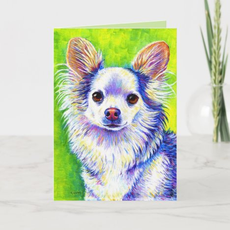Colorful Cute Chihuahua Dog Greeting Card