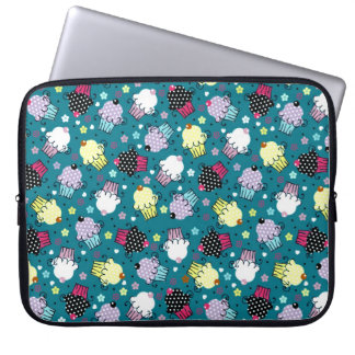Colorful Cute Cupcake Pattern-Turquoise-Green Back Computer Sleeve