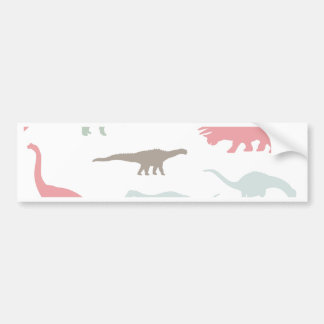 Colorful cute dinosauruses bumper sticker