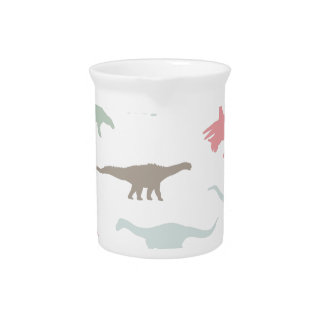 Colorful cute dinosauruses drink pitcher