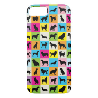 Colorful Cute Dogs Silhouettes iPhone 8/7 Case