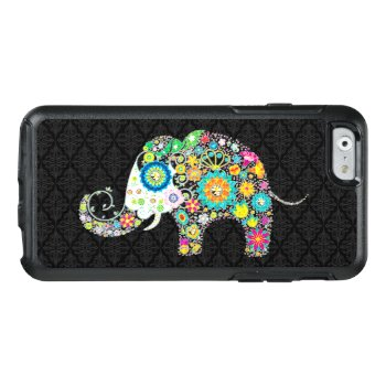 Colorful Cute Elephant Illustration On Black Otterbox Iphone 6/6s Case by artOnWear at Zazzle