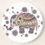 """Colorful Cute Elephant On Gray Marble Stone Drink Coaster<br><div class=""""desc"""">Cute colorful tribal elephant illustration over gray and white marble stone pattern print. See my other elephants illustration.</div>"""