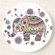 Colorful Cute Elephant On Gray Marble Stone Drink Coaster