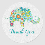 Colorful Cute Floral Elephant Thank You Classic Round Sticker