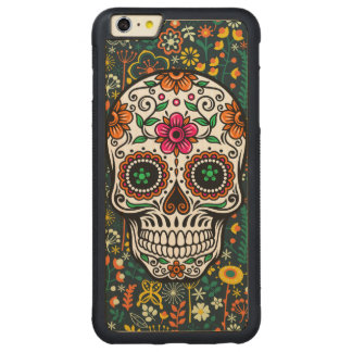 Colorful Cute Floral Sugar Skull Carved Maple iPhone 6 Plus Bumper Case