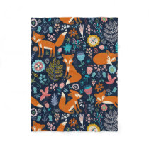 Colorful Cute Flowers & Foxes Pattern Fleece Blanket