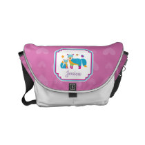 Colorful Cute Foxes with Stars and Hearts Small Messenger Bag