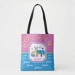 Colorful Cute Foxes with Stars and Hearts Tote Bag