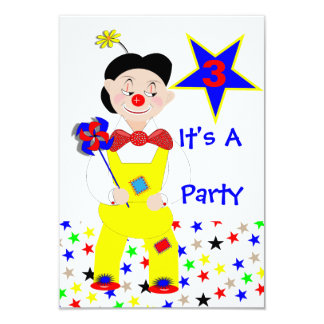 Colorful Cute Funny Circus Clown Custom Invitations