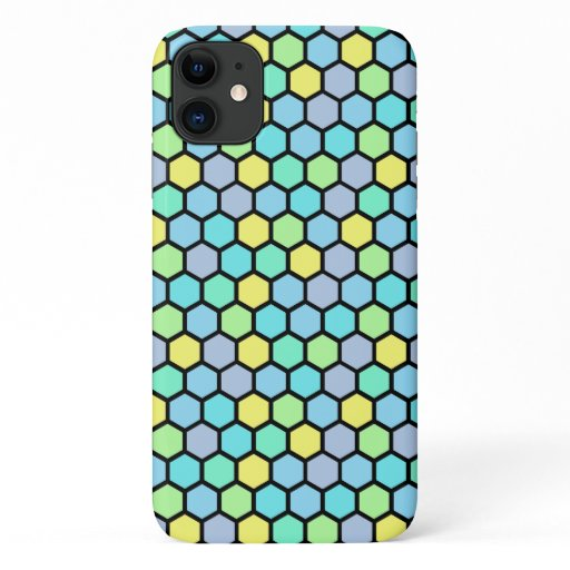 Colorful Cute Girly Beehive Hexagon Pattern iPhone 11 Case