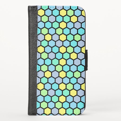 Colorful Cute Girly Beehive Hexagon Pattern iPhone X Wallet Case