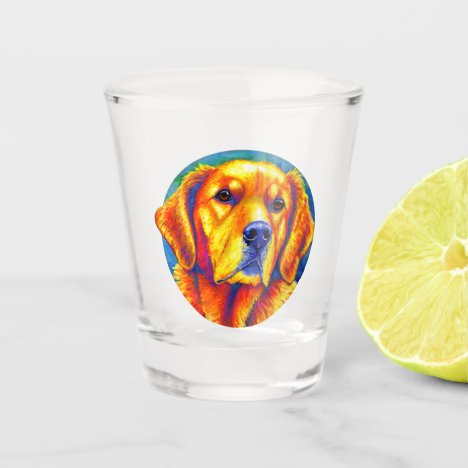 Colorful Cute Golden Retriever Dog Shot Glass