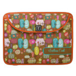 Colorful Cute Hand Drawn Retro Flowers-Monogram Sleeves For MacBook Pro