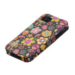 Colorful Cute Hand Drawn Retro Pattern Dark Color iPhone 4 Cases