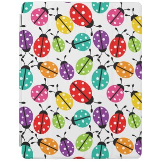 Colorful Cute Lady Bug Seamless Pattern iPad Cover