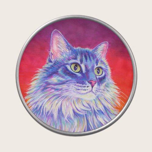 Colorful Cute Longhaired Tabby Cat Candy Tin