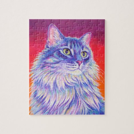 Colorful Cute Longhaired Tabby Cat Jigsaw Puzzle