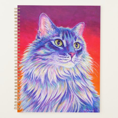 Colorful Cute Longhaired Tabby Cat Planner