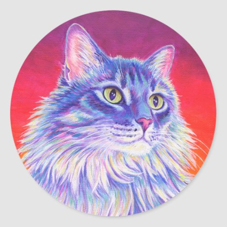 Colorful Cute Longhaired Tabby Cat Stickers