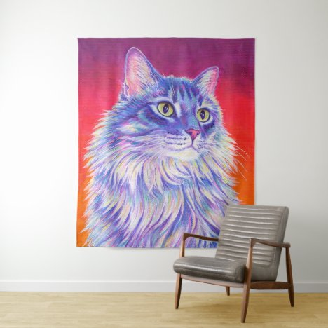 Colorful Cute Longhaired Tabby Cat Tapestry