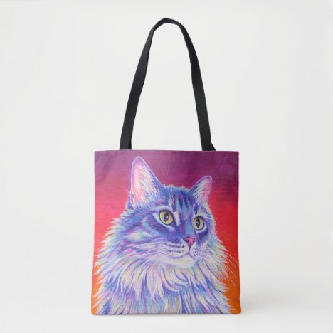 Colorful Cute Longhaired Tabby Cat Tote Bag