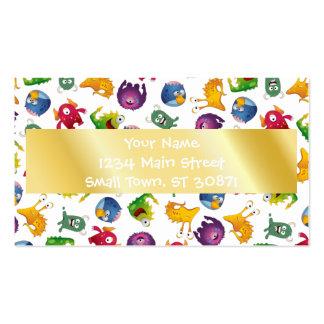Colorful Cute Monsters Fun Cartoon Business Card