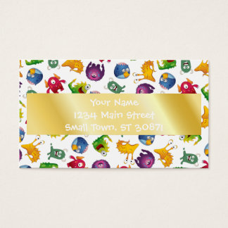 Colorful Cute Monsters Fun Cartoon Business Card