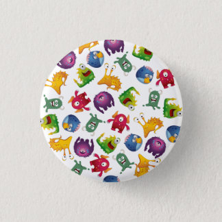Colorful Cute Monsters Fun Cartoon Button