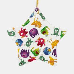 Colorful Cute Monsters Fun Cartoon Ceramic Ornament