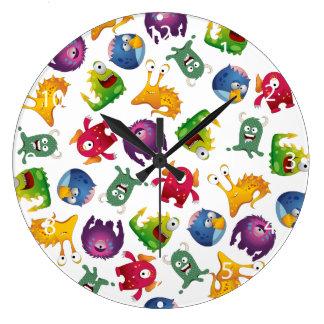 Colorful Cute Monsters Fun Cartoon Large Clock