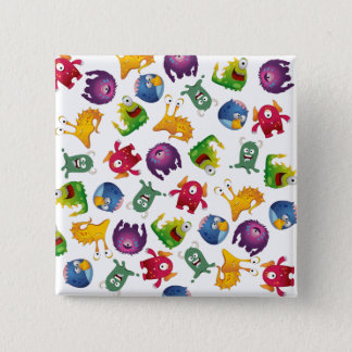 Colorful Cute Monsters Fun Cartoon Pinback Button