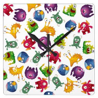 Colorful Cute Monsters Fun Cartoon Square Wall Clock