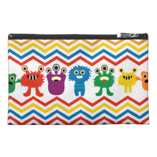 Colorful Cute Monsters Fun Chevron Striped Pattern Travel Accessories Bag