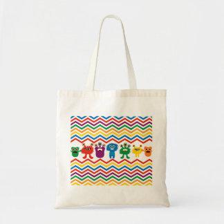 Colorful Cute Monsters Fun Chevron Striped Pattern Bags