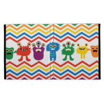 Colorful Cute Monsters Fun Chevron Striped Pattern iPad Cases