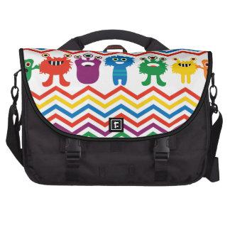 Colorful Cute Monsters Fun Chevron Striped Pattern Commuter Bag