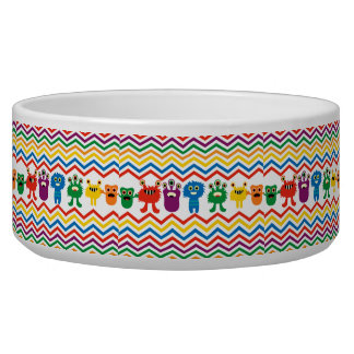 Colorful Cute Monsters Fun Chevron Striped Pattern Dog Food Bowls