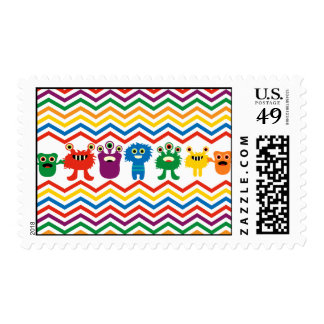 Colorful Cute Monsters Fun Chevron Striped Pattern Postage