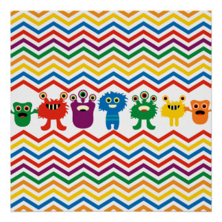 Colorful Cute Monsters Fun Chevron Striped Pattern Posters
