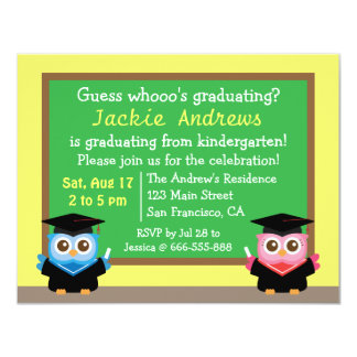 Colorful, Cute Owl Graduation, for Kids Invites