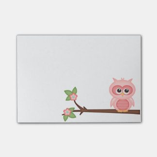 Colorful Cute Owl Hoot Pink Baby Birds on Branch Post-it Notes