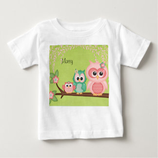 Colorful Cute Owl Hoot Pink Baby Birds on Branches Baby T-Shirt