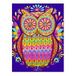 Colorful Cute Owl Postcard - Neon 80s Owl