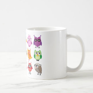 Colorful cute owls coffee mug