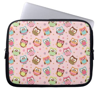 Colorful Cute Owls laptop sleeve (rose) electronicsbag