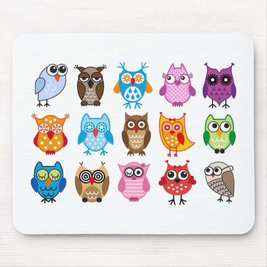 Colorful cute owls mouse pad
