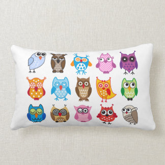 Colorful cute owls pillows