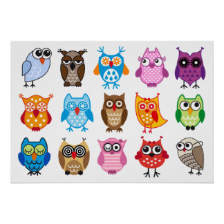 Colorful cute owls poster