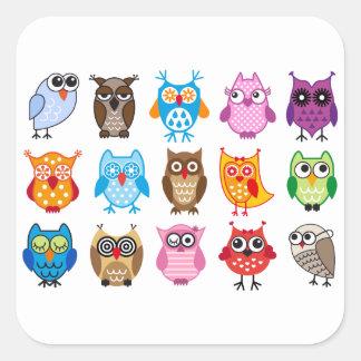Colorful cute owls square sticker